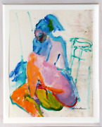 Isabel Gamerov Seated Nude Gouache On Paper Signed L.r.