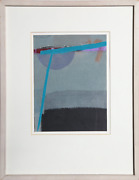 Jean Olds Green Bridge Collage With Fabric And Paper Signed L.r.