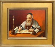 Abraham Straski, Rabbi Reading By Candlelight 14-f, Oil On Canvas, Signed And