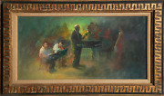 William Harnden Conductor With Singer Oil On Masonite Signed