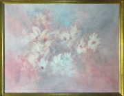Gloria Rosenthal Pastel Daisies Acrylic On Canvas Signed Lower Left