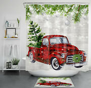 Red Truck Christmas Tree Fir Branches Shower Curtain Sets Bathroom Decor And Hooks