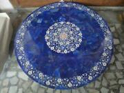 30and039and039 Blue Lapis Marble Table Top Coffee Center Fancy Inlay Mosaic Home