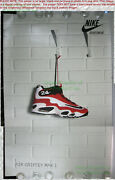 Nitf Vintage Huge Nike Poster Signage ☆ Air Griffey Max 1 Black And Red 36½x56