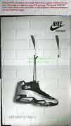 Nitf Vintage Huge Nike Poster Signage ☆ Air Griffey Max 1 Black And Silver 36½x56