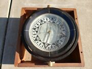 Ships Compass Gimballed With Wood Storage Box Vintage. Baker Compass Company