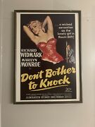 Donand039t Bother To Knock Movie Poster Marilyn Monroe 1952 Read Description