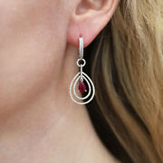 3 Ct Natural Red Pear Ruby And Diamond Solid 14k White Gold Dangle Earrings 42 Mm