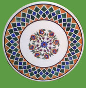 3and039x3and039 Marble Dining Coffee Side Corner Round Table Top Mosaic Inlay Work