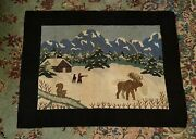 Vintage Antique Country Greenfell Style Scenic Winter Hunting Scene Hooked Rug