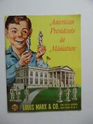 C.1954 American Presidents In Miniature Toy Catalog Louis Marx And Co. Vintage Vg
