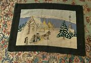 Vintage Antique Country Greenfell Style Scenic Winter Scene Hooked Rug