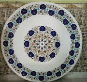 30 White Marble Table Top Coffee Dining Inlay Lapis Mosaic Home Antique Decor
