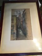 Antique American Artist Glen Cooper Henshaw Orig. Pastel Drawing Cityscape Nyc