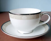 Royal Doulton Abbey Hall Tea Cup And Saucer Champagne Band Made In U.k New
