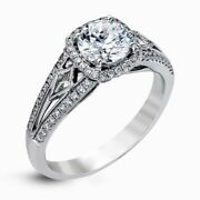 Real Solid 14k White Gold Diamond Round Cut 1.80 Ct Wedding Ring Size L M N