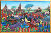 K. Thomas African Animals Acrylic On Canvas Signed L.r