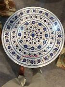 36'' Round White Marble Dining Coffee Set Sofa Center Table Top Mosaic Inlay
