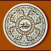 42and039and039 White Marble Table Top Dining Coffee Center Inlay Moasic Lapis Decor V4