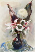Eve Nethercott Spotted Lilies In Vase P1.16 Watercolor On Paper