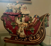 Fitz And Floyd Santa's Sleigh Cookie Jar, Large, 2003, New In Box