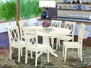 7pc Dining Set Avon Table W/ Leaf + 6 Clarksville Xx-back Wood Chairs Off-white