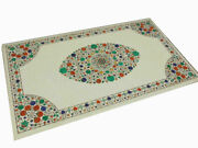 4and039x2.5and039 White Marble Table Top Dining Coffee Center Inlay Mosaic Malachite