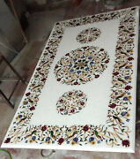 4and039x2.5and039 White Marble Table Top Coffee Dining Inlay Lapis Mosaic Home Decor
