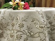 Birds Antique Densely Embroidered Madeira Cutwork Round Tablecloth 58