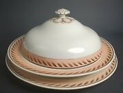 Antique Wedgwood Large Creamware Covered Bowl And Platter Peach Brown Wheat