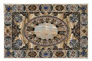 4and039x2.5and039 White Corner Marble Table Top Semi Precious Stone Inlay Home Decor