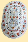 4and039x2.5and039 White Marble Table Top Dining Center Inlay Lapis Mosaic Home Decor G531