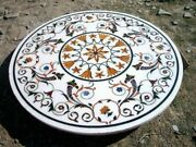 40and039and039 White Marble Coffee Table Top Inlay Handicraft Work For Home Furniture