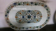 4and039x2.5and039 White Marble Table Top Dining Center Inlay Lapis Mosaic Home Decor G548