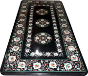 4and039x2and039 Black Marble Table Top Center Dining Stone Inlay Mosaic Decor Antique