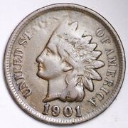 1901 Obv. Error Indian Head Small Cent Choice Xf Free Shipping E131 T