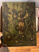 Early 19th Century Circus Tarot Sideshow Painting Oil On Canvas Glued To Wood