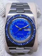 1974 Rare Blue Wittnauer Diver Watch 1000-w100 Automatic Overhauled Dhl Speed