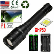Set Super Bright Xhp50 Led Flashlight Zoomable Aluminum Waterproof Torch+18650