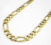 10k Yellow Gold Mens Womens Figaro Chain Necklace 6.5mm 18 - 30