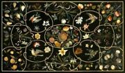 5and039x2.5and039 Black Marble Table Top Dining Center Coffee Inlay Malachite Floor D145