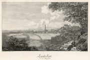 Landshut General View From South Original Copperplate Heinrich Small 1822