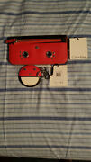 New 128 Calvin Klein Red Saffiano Leather Funny Face Wallet And Key Chain 38