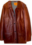 Menand039s Limited Edition Leather Field Jacket Italian Wool Xxl