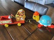 Rare Fisher Price Pull Toy 445 Hot Dog Wagon 1940 With 1962 Tippy Toe Turtle