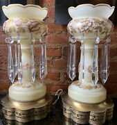 Antique Pair Bohemian Opaline Glass Lustres Lamp Hanging Crystal Prisms Floral