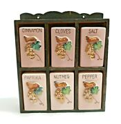 Vintage Spice Containers Made In Japan With Wall Hanging Holder Good Condition
