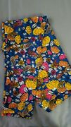 Lularoe Leggings New Tall And Curvy Blue W/yellow, Orange And Pink Flowers/paisley