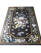5and039x2.5and039 Black Coffee Center Marble Table Top Inlay Malachite Mosaic Work Decor
