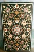 52''x30'' Marble Black Table Top Mother Of Pearl Marquetry Inlay Floral Decors